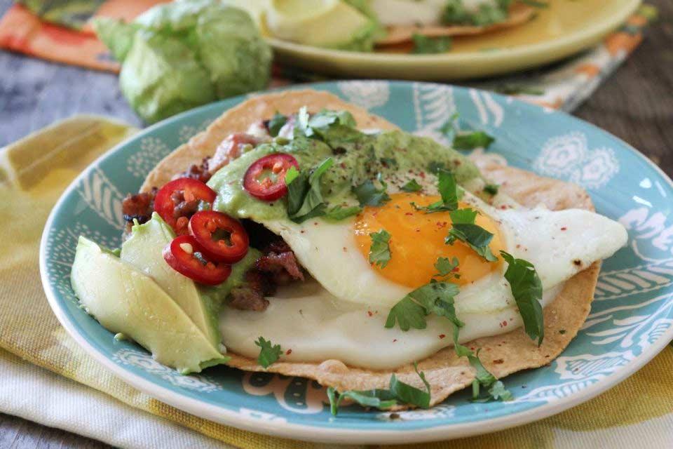 Huevos Rancheros Tostadas With Creamy Tomatillo Salsa